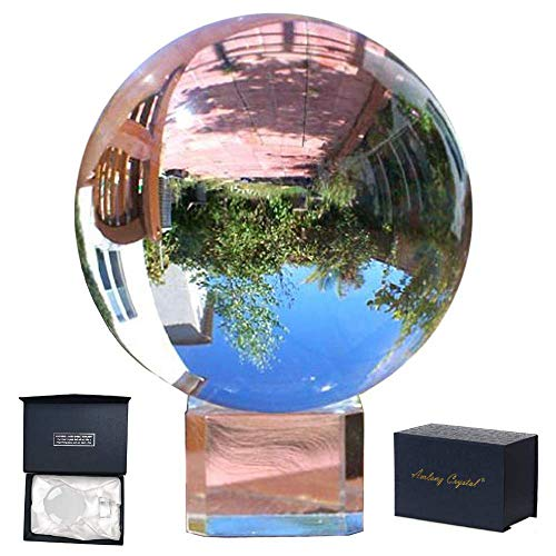Amlong Crystal Meditation K9 Crystal Ball 3.25 inch (80mm) Diameter for Photography, Lensball, Decorative Ball with Free Crystal Stand and Gift Box, Clear ()