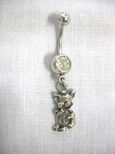 New Funny Farm Animal Piglet/Laughing Pig Charm ON Clear Belly Button Ring