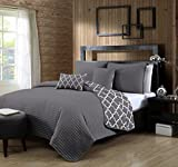 quilt set queen grey - Avondale Manor 5-Piece Griffin Quilt Set, Queen, Grey