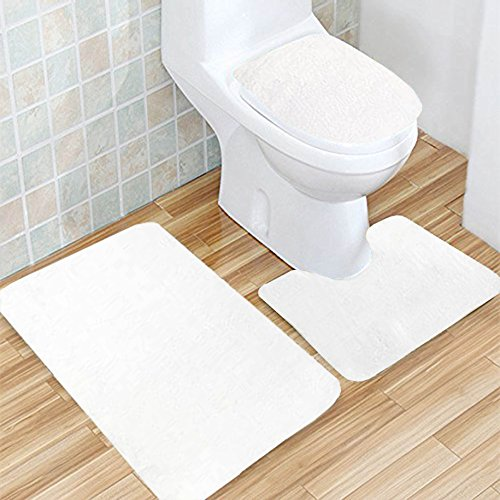 Fallake Bath Mat, 3 Piece Bathroom Rug Set Wood Brown Print Nonslip Bathroom Rug, Soft Bathroom Mat, Dustproof Toilet Cover For Men Women Kids, Bathroom Rugs, Bathroom Accessories by Fallake (Image #2)