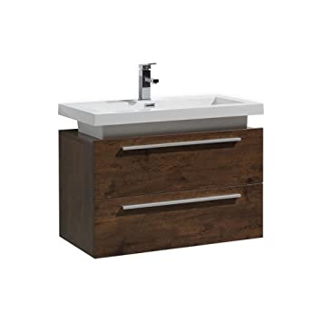 32 Tona Rose Wood Wall Mount Modern Bathroom Vanity With Vessel