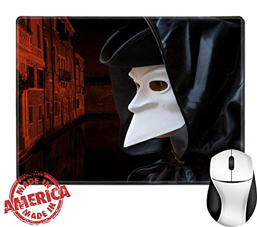 "History Of Masks In Venice (Luxlady Natural Rubber Mouse Pad/Mat with Stitched Edges 9.8"" x 7.9"" Man in Carnival mask in Venice IMAGE ID 2861652)"