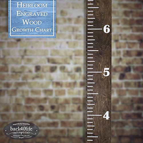 Back40Life | Heirloom Engraved Series - (The Establishment) Wooden Growth Chart Height Ruler (Dark Walnut Stain + White)