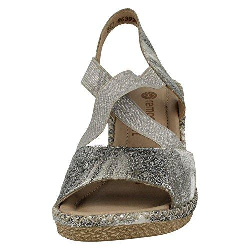 Ladies Remonte X Strap Summer Wedge Sandals - D6732 Silver/Platinum (Silver) JIFuIGoBrF