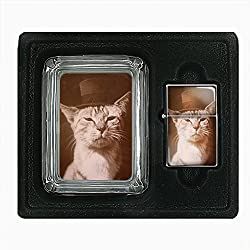 Perfection In Style Glass Ashtray Oil Lighter Gift Set Vintage Cat Design 008