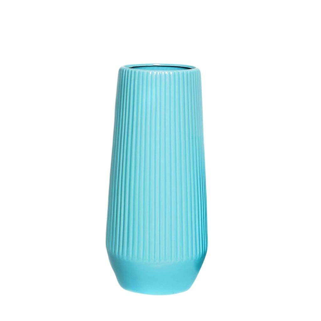 MAHONGQING 花瓶ブルーセラミック花瓶リビングルーム現代のミニマリスト北欧ホームドライフラワーテーブルデコレーション花のフラワーアレンジメント (Size : M) B07RXYYTRR  Medium