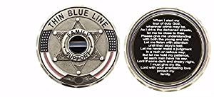 Thin Blue Line 6 Point Star Family Support Challenge Coin - Each