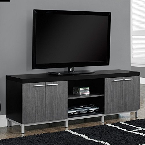 Contemporary TV Stands for Flat Screens Black Gray Wooden Enclosed Media Storage Cable Wire Management System Universal Entertainment Center Stand Mount Storage Organizer, BONUS e-book price