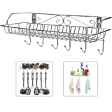 Stainless Steel Metal Wall Mounted Organizer Hanger / Storage Rack w/ Top Basket Shelf, 6 Utility Hooks