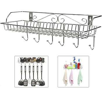 stainless steel metal wall mounted organizer hanger storage rack w top basket shelf
