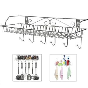 Stainless Steel Metal Wall Mounted Organizer Hanger / Storage Rack W/ Top  Basket Shelf, 6 Utility Hooks Gallery