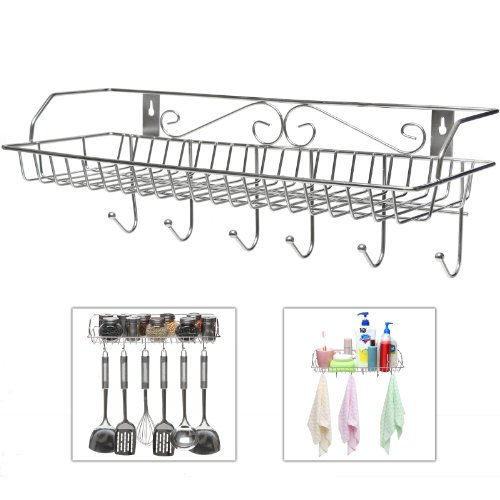 Openwork Basket (Stainless Steel Metal Wall Mounted Organizer Hanger / Storage Rack w/ Top Basket Shelf, 6 Utility Hooks)