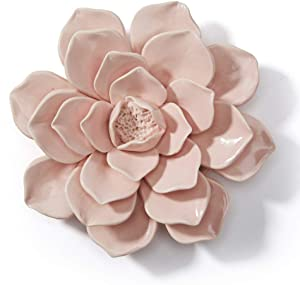 SEINHIJO Artificial Flower 3D Wall Decor Wall Art Ceramic Rose Flower Scupture for Statue Home Gifts Souvenirs Giftbox Pink 18cm Dia