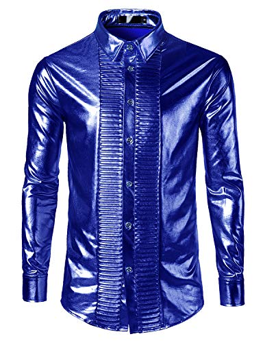 SOWTEE Mens Metallic Shiny Party Long Sleeve Button Down Nightclub Dress Shirts Small Blue ()