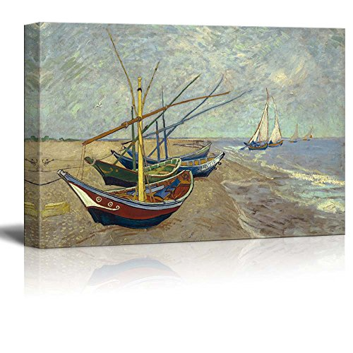 "Fishing Boats on The Beach at Saintes-Maries by Van Gogh Giclee Canvas Prints Wrapped Gallery Wall Art | Stretched and Framed Ready to Hang - 24"" x 36"""