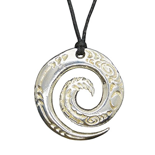 (Handmade New Zealand Round Engraved Spiral Pewter Pendant on Waxed Cord)