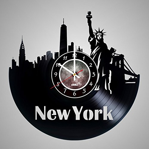 New York City Vinyl Record Wall Clock - Get unique living room wall decor - Gift ideas for friends, teens, men and women, girls and boys - NY Unique Art Design (New York Mets Photo Album)