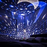 Eterichor Starry Night Light Projector, 2 in 1 Star Moon & Ocean World, 360° Rotating Multiple Colors Ceiling Projector, Romantic Home Decoration Lamp, USB & Battery Powered, Gifts for Kids