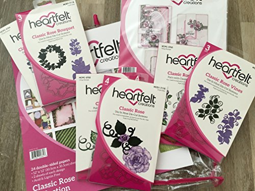 Heartfelt Creations Classic Rose Full Collection: Paper Pad, 3x Die Cut and 3x Stamp Set by Classic Rose