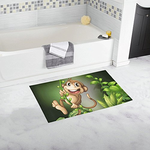 Monkey Hanging On A Vine Custom Bath Mats and Rugs Non Slip for Bathroom and Kitchen Rugs 16