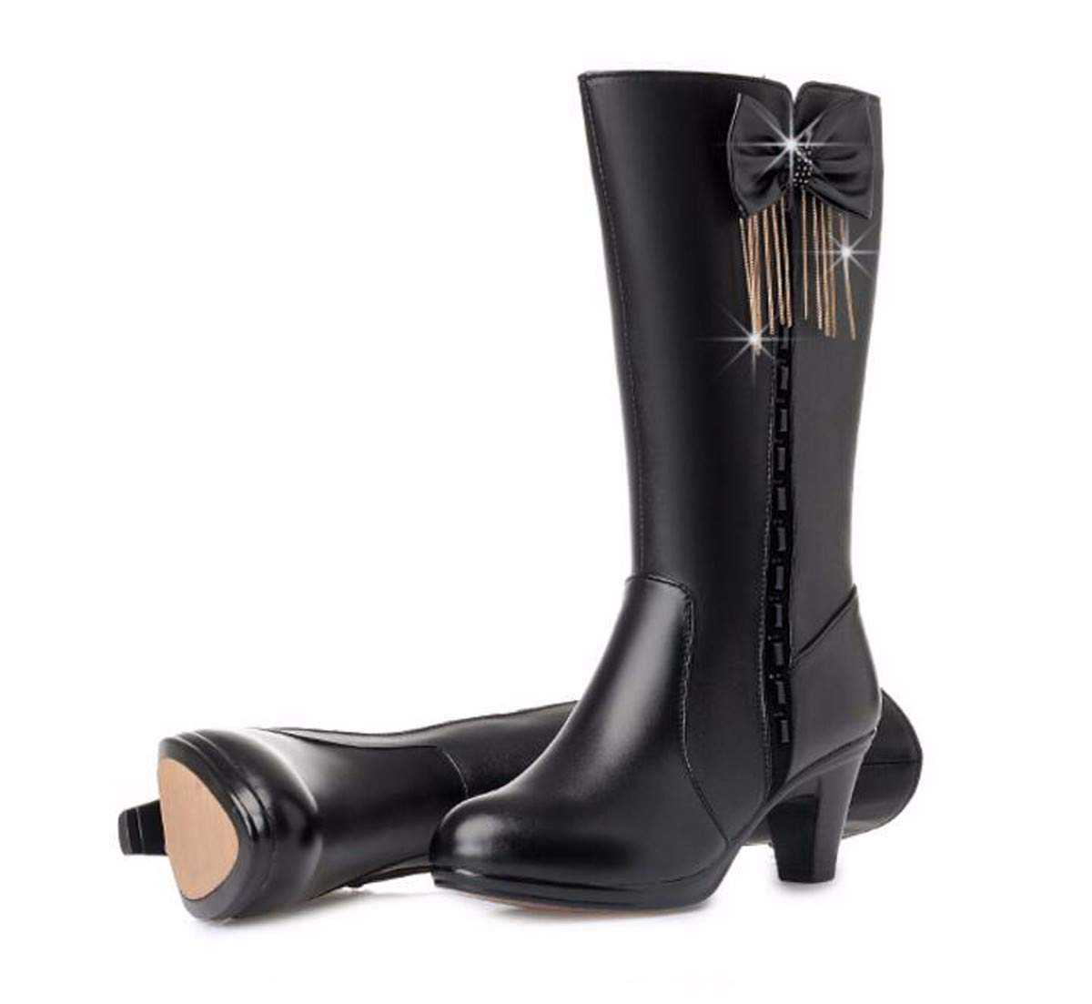 HBDLH Damenschuhe Mittlere U - Stiefel, Mama Baumwolle Schuhe, Mitte und Dicken Bogen, Winterschuhe, Damen - Stiefel, Warme Stiefel 6 cm.