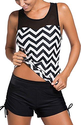 Women's Mesh Mixed Cheveron Stripes Racerback Tankini Set with Boyshort Two-Piece Swimsuit, Black, 2XL