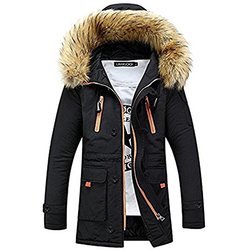 Newbestyle Men Faux Fur Hooded Cotton Padded Parka Outerwear and Coats Black (Cotton Parka)