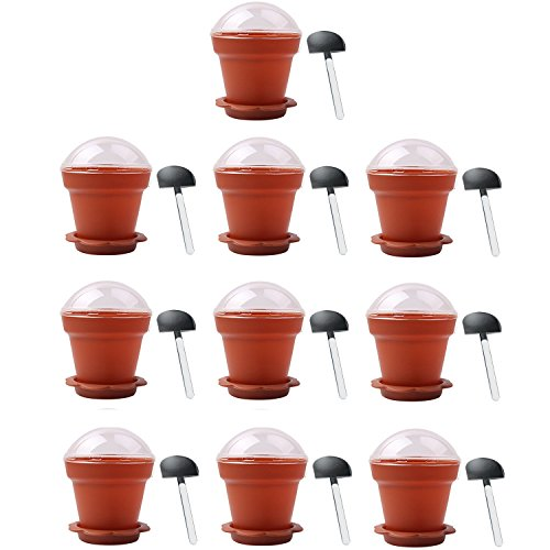 Gosear DIY Cake Cups, Flower Cups 10 PCS Home Household Party Flower Pot Shape DIY Baking Jelly Cake Yogurt Mousse Storage Transparent Cup Holder with Lid and Shovel Spoon -