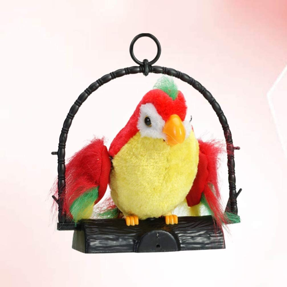 TOYANDONA Singing Chirping Toy Bird in a Cage Moving Sound Activated Realistic Parakeet Without Battery
