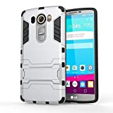 LG G Stylo Case, CASEPLAY [Ultra Slim] [Impact Resistant] Case Protective Hybrid Armor Case Cover with Dual Layer Advanced Shock Absorption & KickStand Feature for LG G Stylo (Silver)