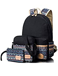 Leaper Casual Canvas Laptop Bag Cute School Backpack Shoulder Bag Pencil Case 3PCS Set (Black)