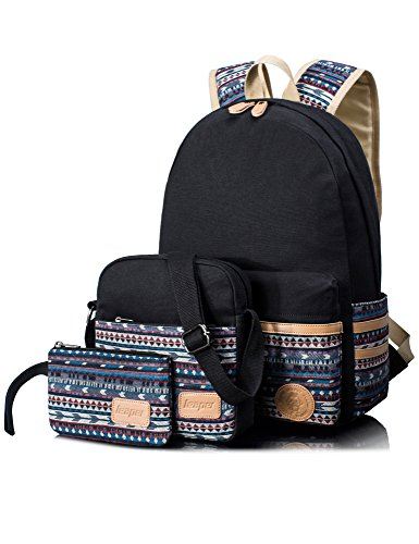 Leaper Casual Canvas Laptop Bag Cute School Backpack Shoulder Bag Pencil Case 3PCS Set (Black)