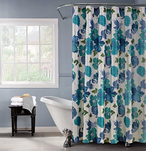 13Piece Set with Lurex Shower Curtain & 12 Metal Hooks Floral (Lurex Liner)