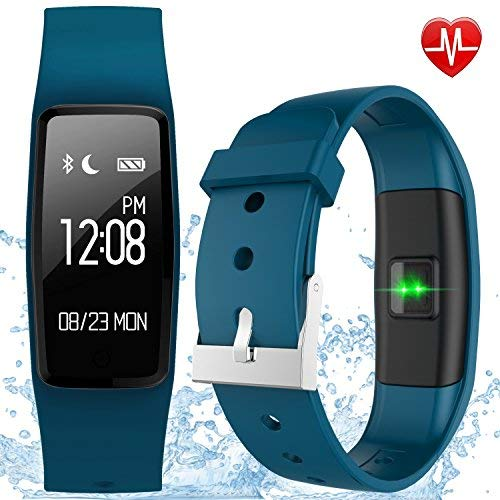 GULAKI Fitness Tracker Watch, IP67 Waterproof Smart Bracelet GPS Smartwatch for Health Activity Workout Exercise Tracker with Heart Rate Monitor for Android and IOS Smart Phones (blue)