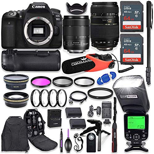 Canon EOS 90D DSLR Camera with EF-S 18-135mm f/3.5-5.6 is USM Lens + Tamron 70-300mm AF Lens, Battery Grip with Advanced…