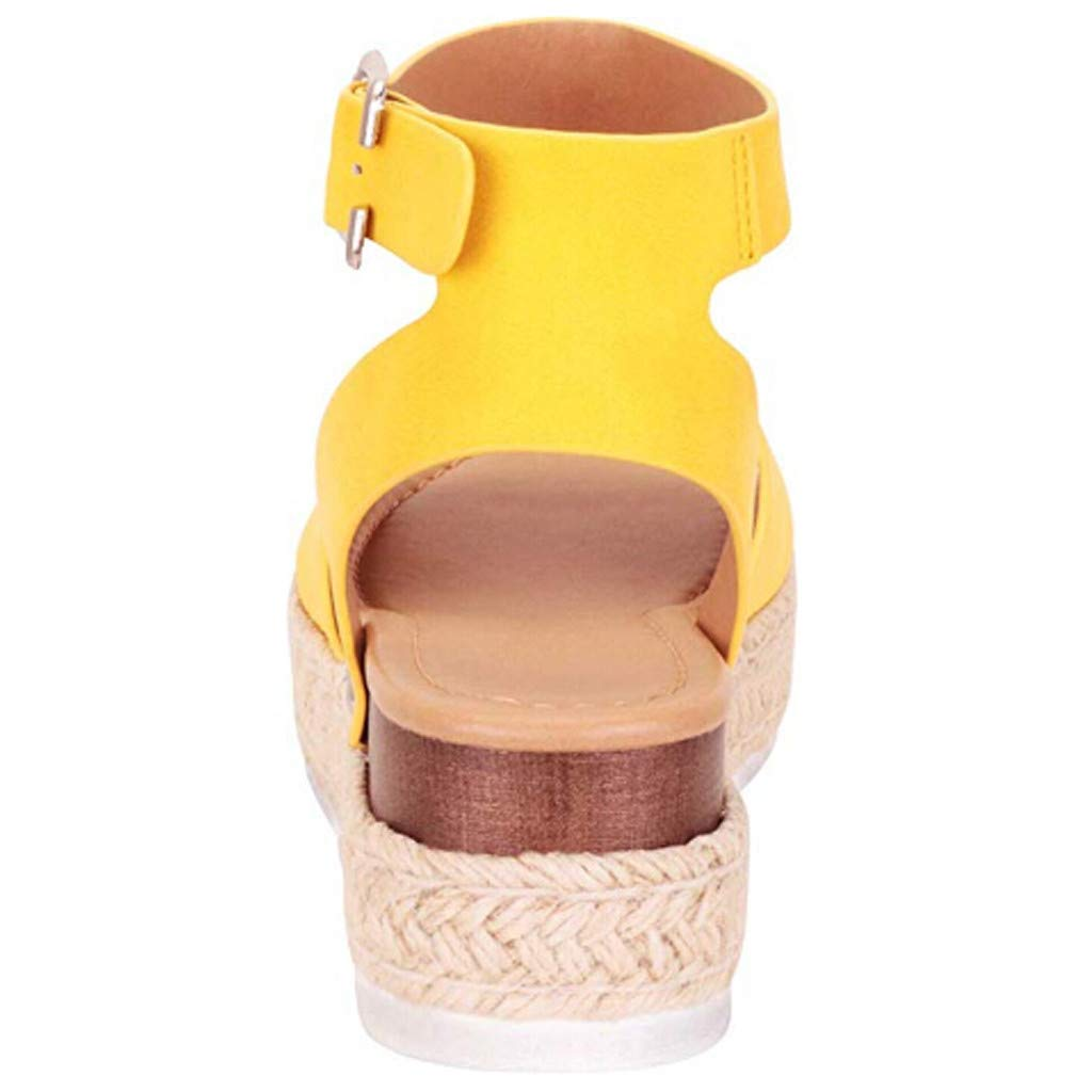 Open Toe Sandals Ankle Strap Buckle Flatform Wedges Rubber Sole Shoes Summer Womens Espadrille Sandals