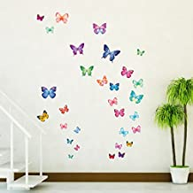 Decowall DW-1302 30 Vibrant Butterflies Kids Wall Decals Wall Stickers Peel and Stick Removable Wall Stickers for Kids Nursery Bedroom Living Room