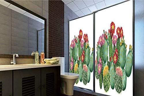 Privacy Window Film No Glue,Cactus Decor,Saguaro Barrel Hedge Hog Prickly Pear Opuntia Tropical Botany Garden Plants Decorative,Multicolor,47.24