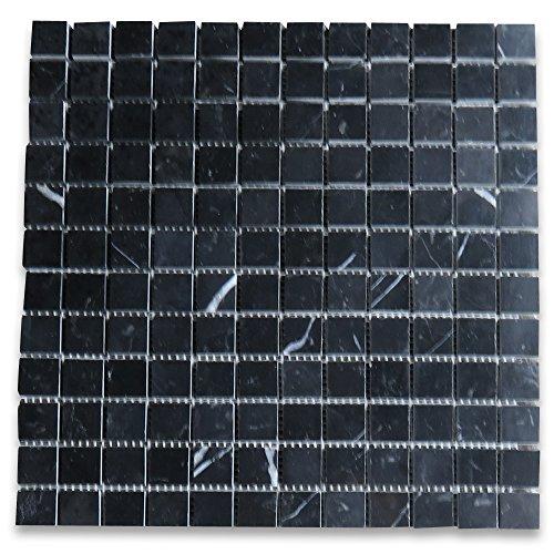 Square Marble Mosaic - Nero Marquina Black Marble Square Mosaic Tile 1 x 1 Polished