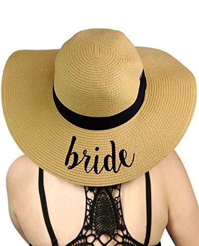 - C.C Women's Paper Weaved Crushable Beach Embroidered Quote Floppy Brim Sun Hat, Bride