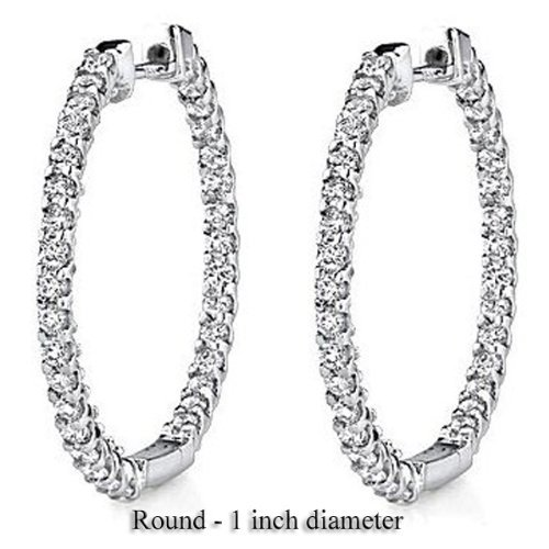 0.90 Carat (ctw) 14K Gold Round Diamond Ladies In and Out Hoop Earrings