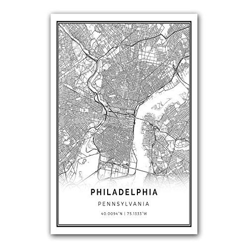 Philadelphia map poster print | Modern black and white wall