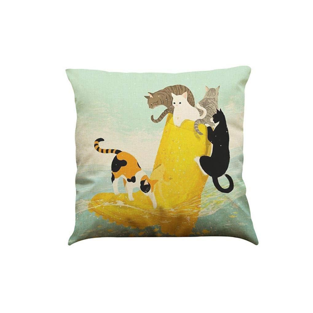 JiaMeng Cojines Decorativa Almohadas Fundas para Sofá Cama Sala de Lindo Gato sofá Cama decoración del hogar Almohada