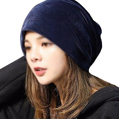 LABANCA Women Fashion Leisure Winter Warm Hat Velvet Soft Beanie for Outdoors Navy Blue