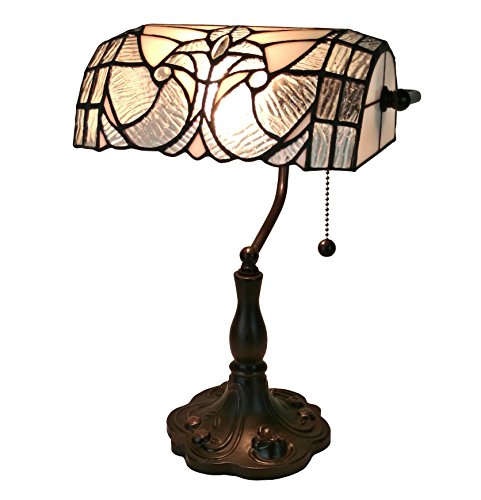 Amora Lighting Tiffany Style AM250TL10 Floral Banker Tiffany Style Table Lamp 13 In (Bankers Desk Light)