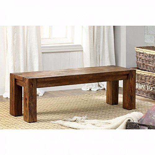 Frontier Rustic Wooden Bench Natural Teak Finish