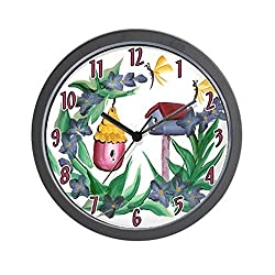 CafePress - Flowers and Birdhouses Wall Clock - Unique Decorative 10 Wall Clock