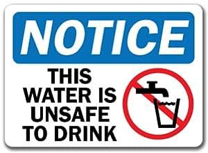 """Señal de aviso–esta agua no es apta para con Graphic–10""""x 14"""" OSHA seguridad señal"""