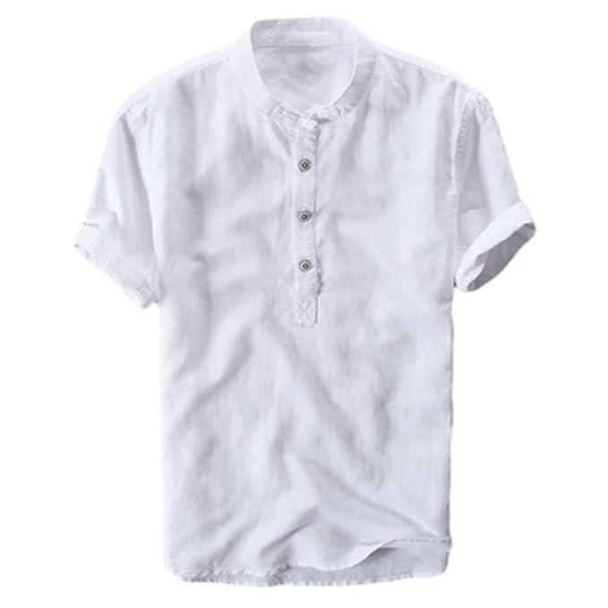 Juleya Camisa Casual para Hombres, Blusa Suelta Transpirable Suave Cómoda Camiseta de Manga Corta Sólida de Cuello Alto S-2XL: Amazon.es: Ropa y accesorios