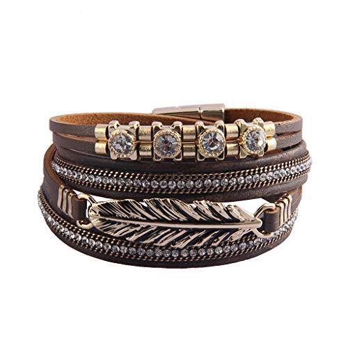 Bfiyi Leather Cuff Bracelets Feather Multi Layer Wrap Bracelet Handmade Bohemian Jewelry for Women, Girls, Wife, Mom Gift